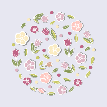 Circle concept with pink flowers isolated on blue background. Design element for party invitation, greeting card, postcard, girl birthday, Mother's Day, Woman's Day, Warm Season Card, flower shop. Vektorové ilustrace