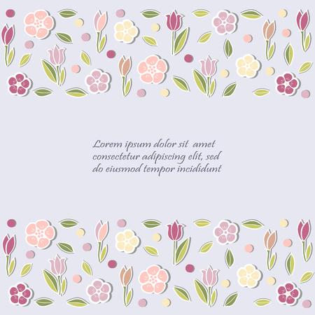Template with flowers for card design. Vector illustration.