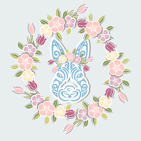 Bunny head with floral wreath isolated on background.  Pet shop, badge. Template for Baby Birthday, Easter Day, party invitation, greeting card, baby shower.