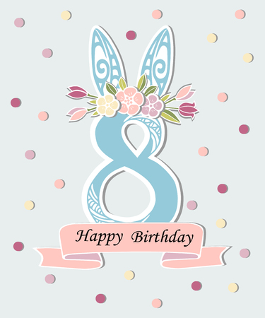 Vector illustration with number Eight, Bunny ears and flower wreath. Template for Birthday, party invitation, greeting card, pet shop. Cute Number Eight as eighth year anniversary logo, patch, sticker Vettoriali