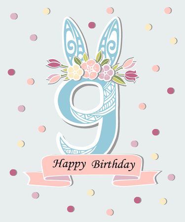 Vector illustration with number Nine, Bunny ears and flower wreath. Template for Birthday, party invitation, greeting card, pet shop. Cute Number Nine as ninth year anniversary logo, patch, sticker