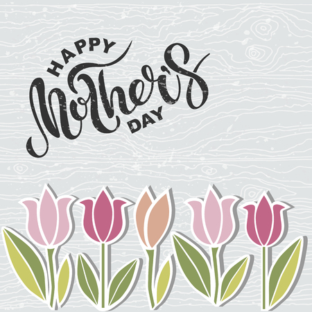 Happy Mother's Day text on wooden imitation textured background. Hand drawn lettering as Mother's day logo, badge, icon. Template for Happy Mother's Day, invitation, greeting card, web, postcard.