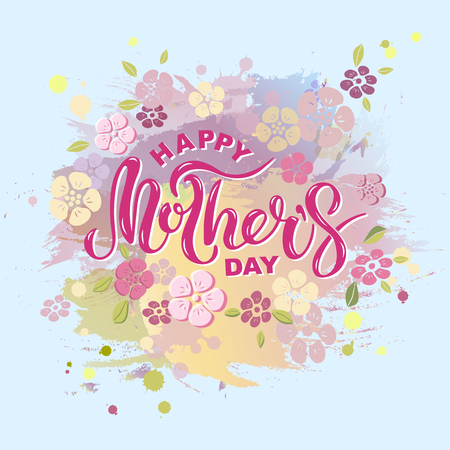 Happy Mothers Day. Hand drawn lettering as Mothers day logo, badge, icon. Template for Happy Mothers Day, invitation, greeting card, web, postcard.