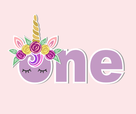 One with unicorn horn, ears, flower wreath vector illustration. Template for baby birthday, party invitation, greeting card, t-shirt design. Cute One as first year anniversary icon, patch, sticker.