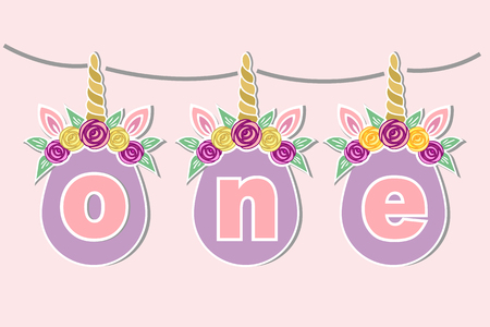 One with unicorn horn, ears and flower vector illustration. Template for birthday party invitation, greeting card, icon, patch, sticker, decoration, topper.