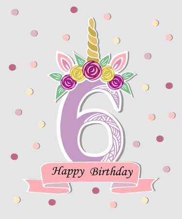 Vector illustration with number Six, Unicorn Horn, ears and flower wreath. Template for birthday, party invitation, greeting card. Cute Number Six as logo, patch, sticker. Vector illustration. Vettoriali