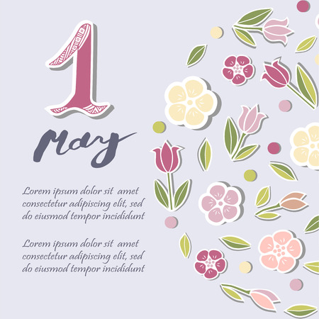 First of May text isolated on background with flowers. Template for International Labor Day, invitation, greeting card, web, postcard. Vector illustration