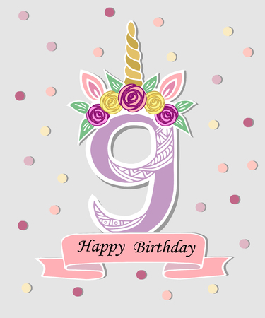 Vector illustration with number Nine, Unicorn Horn, ears and flower wreath. Template for birthday, party invitation, greeting card. Cute Number Nine as logo, patch, sticker.