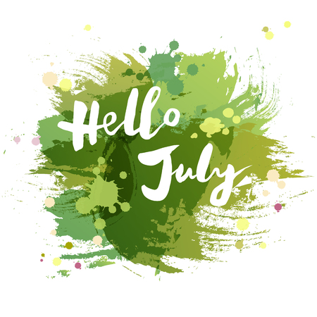 Handwritten lettering Hello July isolated on watercolor painting imitation background. Lettering for Warm Season card, art shop, logo, badge, postcard, poster, banner, web. Vector illustration.