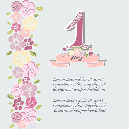 First of May text isolated on background with flowers. Template for International Labor Day, invitation, greeting card, web, postcard.