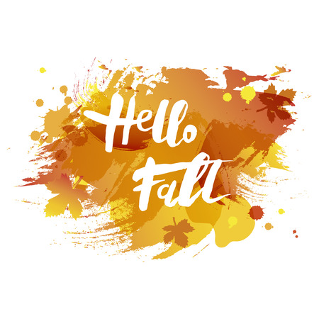 Handwritten modern lettering of Hello Fall. Vector illustration for your artwork, logo, art shop, art school, web. Postcard motive. 向量圖像
