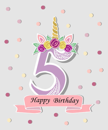 Vector illustration with number Five, Unicorn Horn, ears and flower wreath. Template for birthday, party invitation, greeting card. Cute Number Five as logo, patch, sticker. Vettoriali