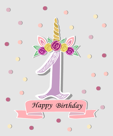 Vector illustration with number One, Unicorn Horn, ears and flower wreath. Template for birthday, party invitation, greeting card. Cute Number One as logo, patch, sticker.