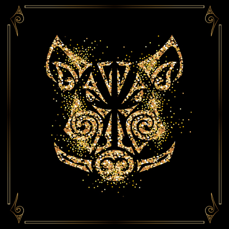 Golden boar, pig head isolated on black background. Symbol of Chinese 2019 New Year. Vector illustration. Stylized Maori face tattoo. Ilustração