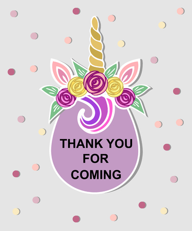 Template with Unicorn tiara for party invitation, baby shower, thank you card, greeting card. Unicorn Tiara as badge, logo, patch. Vector illustration. Illustration