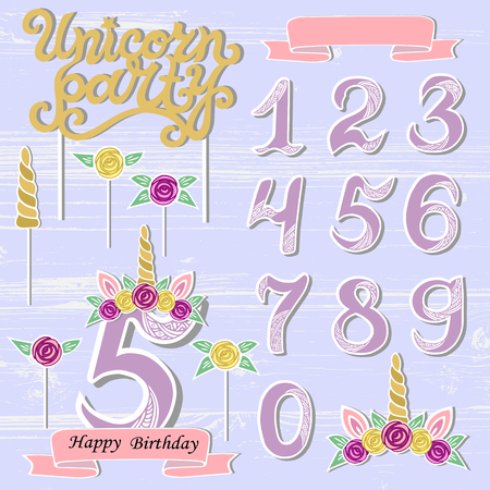 Vector set with Unicorn Tiara, Numbers, Horn, flower. Unicorn Party handwritten lettering as patch, stick cake toppers, laser cut plastic, wooden toppers. Props for baby birth, Unicorn, Birthday party Illustration