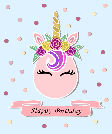 Vector illustration with Unicorn, pink ribbon. Unicorn as baby shop logo, patch, stick cake topper, t-shirt design, sticker.Template for Unicorn party invitation, Happy Birthday, greeting card.