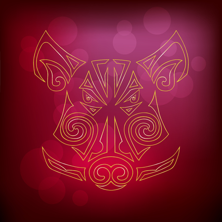 Boar, pig head isolated on red background. Symbol of Chinese 2019 New Year. Vector illustration. Stylized Maori face tattoo. Illustration