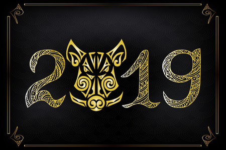 Golden boar's or pig's head isolated on black background. Symbol of Chinese 2019 New Year vector illustration. Boar or pig head stylized Maori face tattoo.