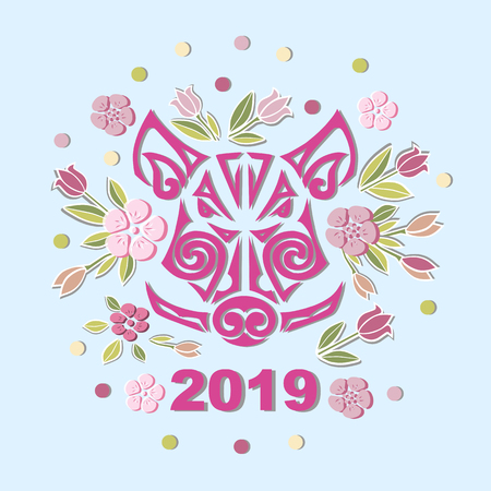 Boar or Pig Head isolated on background with flowers. Pig or Boar head as logo, badge, icon. Template for party invitation, greeting card, pet shop, web. Symbol of Chinese New Year. Illustration