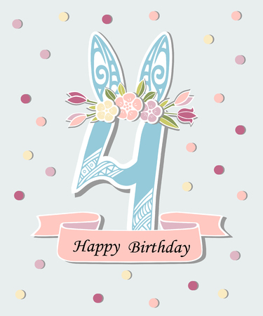 Vector illustration with number Four, Bunny ears and flower wreath. Template for Birthday, party invitation, greeting card, pet shop. Cute Number Four as a fourth year anniversary icon, patch, sticker.