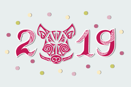 2019 and Pig's Head isolated on background. Pig's or Boar's head as logo, badge, icon. Template for party invitation, greeting card, pet shop, web. Pig is Symbol of Chinese New Year 2019