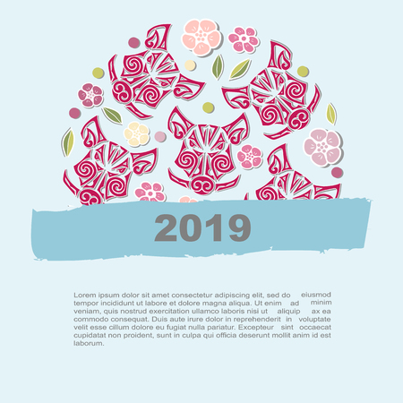 Circle concept with Boar's or Pig's head with flowers. Template for oriental concept, tattoo studio, identity, pet shop. Pig, Boar is the symbol of 2019 Chinese New Year.