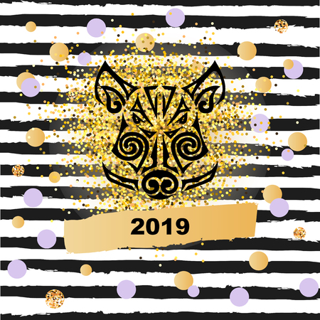 Boar's or pig's head isolated on black stripes background with golden confetti. Symbol of Chinese 2019 New Year. Stylized Maori face tattoo.Template for party invitation, greeting card, pet shop, web.