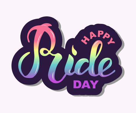 Happy Pride day text isolated on background. Hand drawn lettering Pride as logo, badge, icon, patch. Template for lgbt community, party invitation, carnival, festival, parade, greeting card, web Vectores