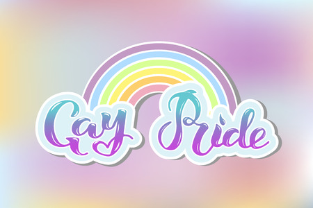 Gay Pride text as cloud with rainbow isolated on background. Hand written lettering Gay Pride as logo, badge, patch. Template for lgbt community, party invitation, festival, parade, greeting card, web