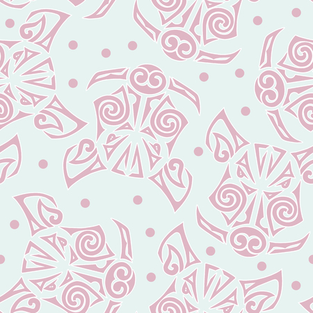 Seamless pattern with Pigs or Boars head. Pig is symbol of 2019 Chinese New Year. Background for tattoo studio, oriental concept, pet shop, greeting card. Pigs head stylized Maori face tattoo.