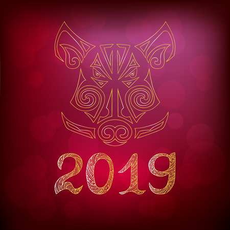 Pig's or Boar's head isolated on red background. Pig is Symbol of Chinese 2019 New Year. Vector illustration. Pig's or Boar's head stylized Maori face tattoo.