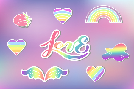 Vector set with Rainbow, cloud, heart, wings, strawberry. Handwritten lettering Love. Rainbow, clound, heart as patch, stick cake toppers, drink toppers, laser cut plastic, wooden toppers, props for Rainbow, Unicorn party Birthday lgbt concept Illustration
