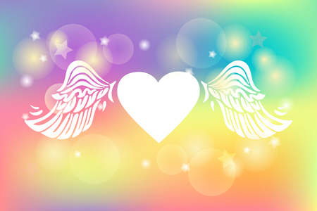 Vector illustration with Heart and Wings isolated on rainbow colors background. Poster for Love You card, St Valentines day, lgbt concept. Illustration