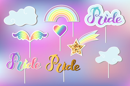 Vector set with Rainbow, cloud, heart, wings. Handwritten lettering Pride. Rainbow, clound, Pride as patch, stick cake toppers, drink toppers, laser cut plastic, wooden toppers, props for Rainbow party, Birthday lgbt concept Illustration