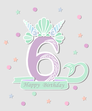 Vector illustration Number Six with Mermaid tail and Shell Crown. Template for Mermaid style birthday, party invitation, greeting card. Cute Number Six as logo, patch, sticker.  イラスト・ベクター素材