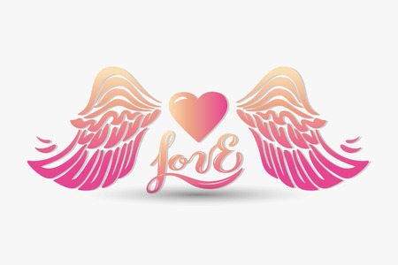 Love with wings isolated on background