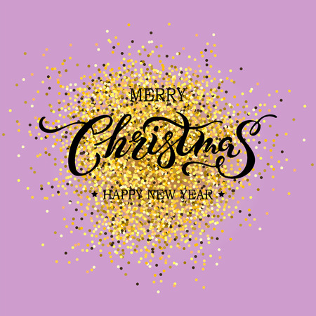 Merry Christmas hand drawn lettering isolated on background. Calligraphic design for Happy holidays greeting card, postcard motive, badge, web, invitation, poster. Typography for winter holidays