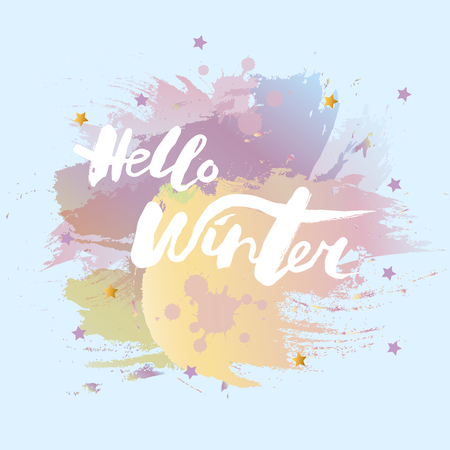 Handwritten modern lettering Hello Winter on background. Hand drawn lettering for banner, logo, badge, web, poster. Vector illustration for your artwork. Hello Winter isolated on background
