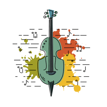 Contrabass icon isolated on background with painting splashes. Vector illustration