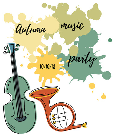 Template for music festival, jazz party, invitation, greeting card, concert poster. Vector illustration with contrabass, french horn and painting splash. Flat style. Illustration