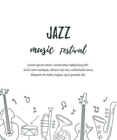 Template for music festival, jazz party, invitation, greeting card, concert poster. Vector illustration with saxophone, guitar, violin, french horn drum Line style