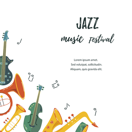 Template for music festival, jazz party, invitation, greeting card, concert poster. Vector illustration with saxophone, guitar, violin, french horn drum Flat style