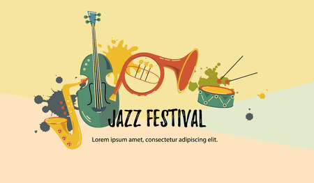 Vector illustration, banner design template with musical instruments. Musical event icon. Template for music festival, jazz party, invitation, greeting card, concert poster, school of music. Illustration