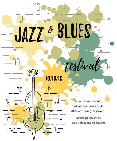 Template for music festival, jazz party, invitation, greeting card, concert poster. Vector illustration with contrabass and painting splash. Line style.