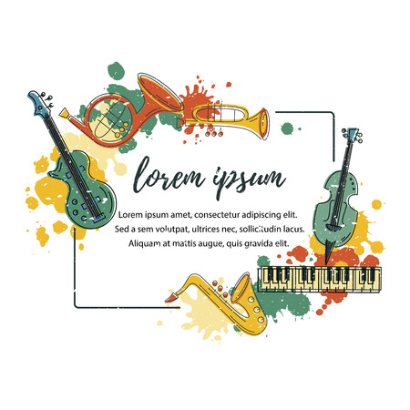 Template for music festival, jazz party, invitation, greeting card, concert poster. Vector illustration with saxophone, piano, violin, french horn, drum guitar trumpet Flat style