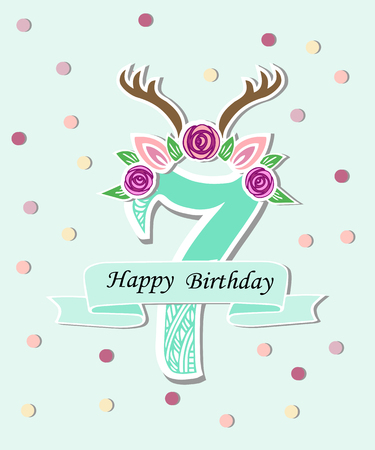 Vector illustration number Seven with antlers, Flower Wreath. Template for Birthday, invitation, greeting card, t-shirt design. Cute number Seven as seven year anniversary logo, patch, sticker.