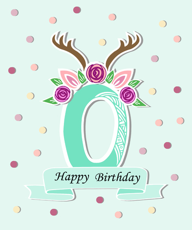 Vector illustration Number Zero with Deer Headband. Template for Wildlife style birthday, baby birth, party invitation, greeting card. Cute Number Zero as logo, patch, sticker.