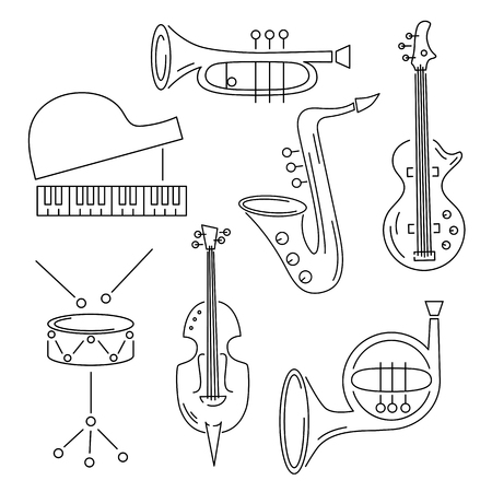 Vector set with music instrument: guitar, piano, saxophone, cornet, french horn, violin drum Line style