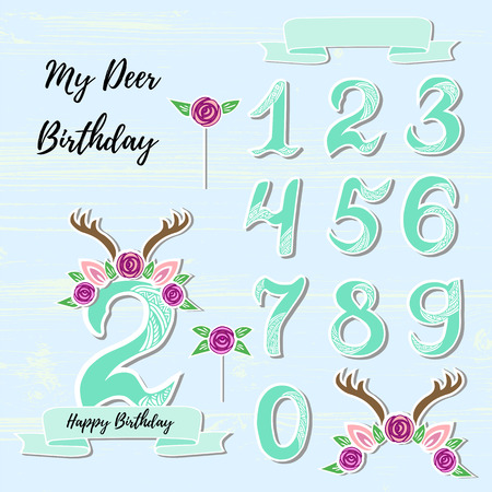 Vector set with Deer headband, Numbers, flower. My Deer symbols as patch, stick cake topper, sticker, drink topper. Props for baby birth, Deer party, birthday, first birthday, baby shower.